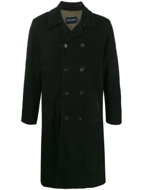 Pre-owned Giorgio Armani 1990s Double-breasted Trench Coat In Black