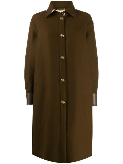 Fendi Long Shirt Coat In Brown