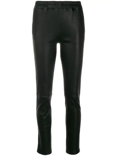 Arma Leather Skinny Cropped Trousers In Black