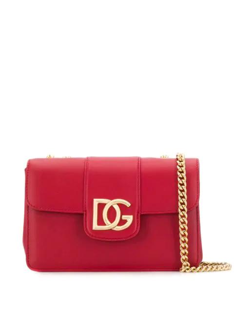 Dolce & Gabbana Logo Plaque Shoulder Bag In Red