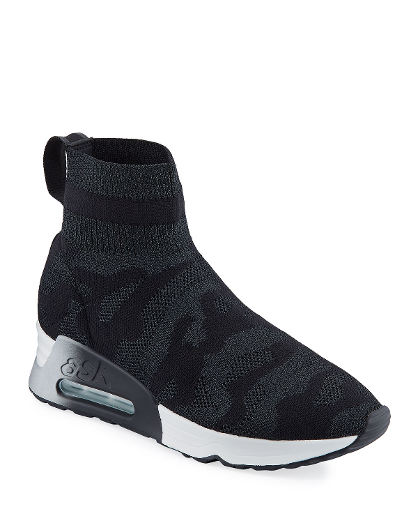 Ash Lulu Camo Knitted Sock Trainers Colour: Black In Black/shiny Black