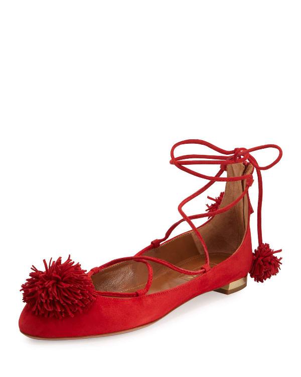 Aquazzura Sunshine Suede Ankle-Wrap Flat, Red