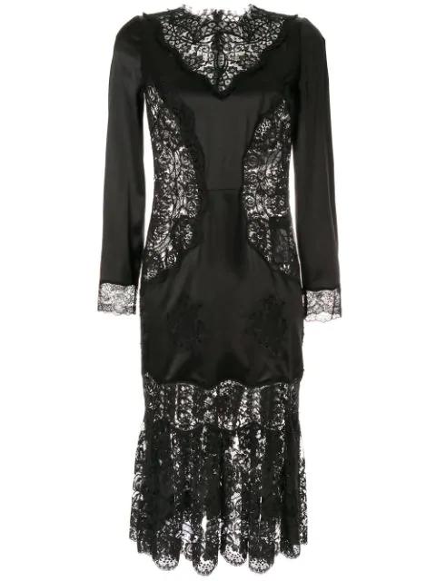 Dolce & Gabbana Kleid Mit SpitzeneinsÄtzen In Black