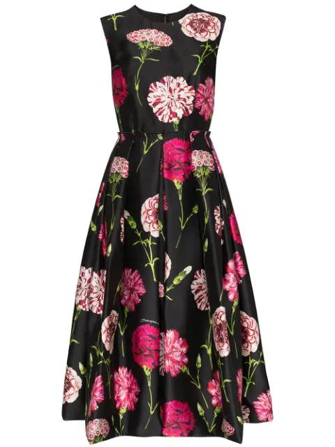 Dolce & Gabbana Carnation-print Pleated Silk-faille Dress In Hn10c Garofani Nero