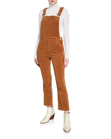 7 For All Mankind Corduroy Slim-kick Overalls In Penny