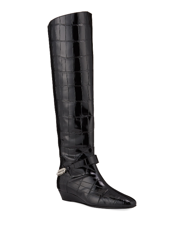 Giuseppe Zanotti Women's Rebecca Croc-Embossed Over-The-Knee Wedge Boots In Black