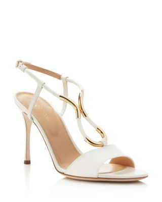 Sergio Rossi Twist High Heel Sandals In White