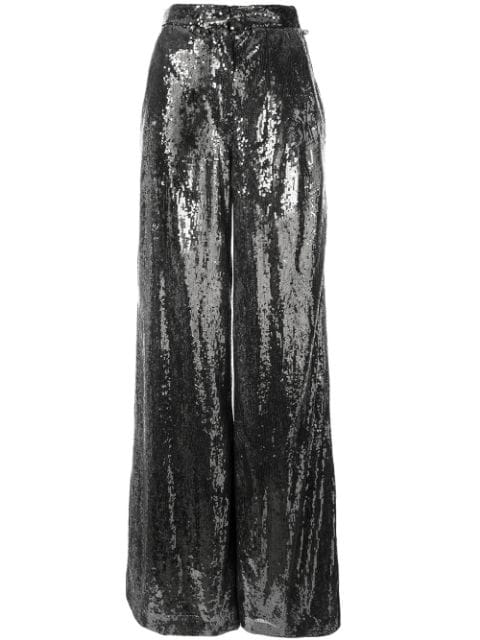 Ingie Paris Sequin Wide Leg Trousers In Silver