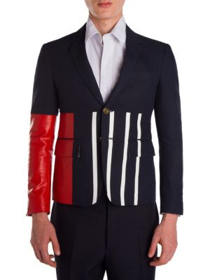 Thom Browne Colorblock Jacket In Navy