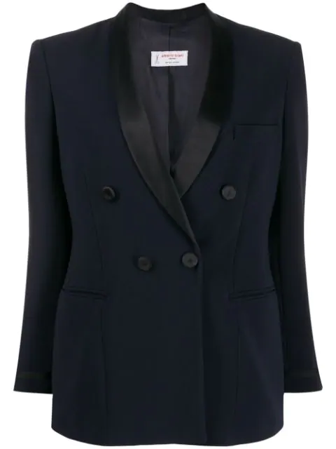 Alberto Biani Fitted Double-breasted Blazer In Blue