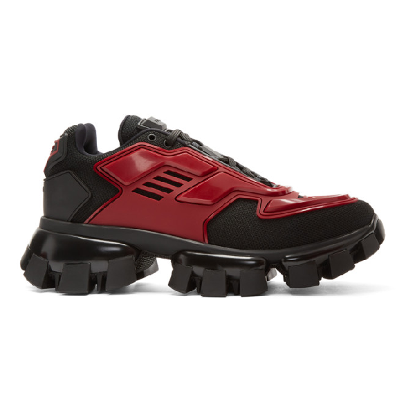 Prada 'cloudburst Thunder' Colourblock Panelled Chunky Sneakers In Black/red