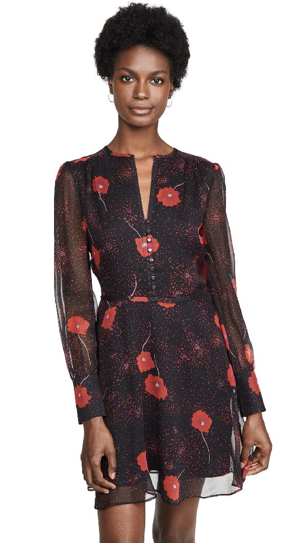 Equipment Danette Floral V-Neck Long-Sleeve Mini Silk Dress In True Black Multi