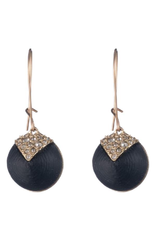 Alexis Bittar Crystal Encrusted Origami Inlay Dangling Sphere Kidney Wire Earrings In Black