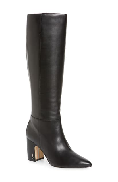 Sam Edelman Lindsey Pointed Toe Knee High Boot In Black Leather