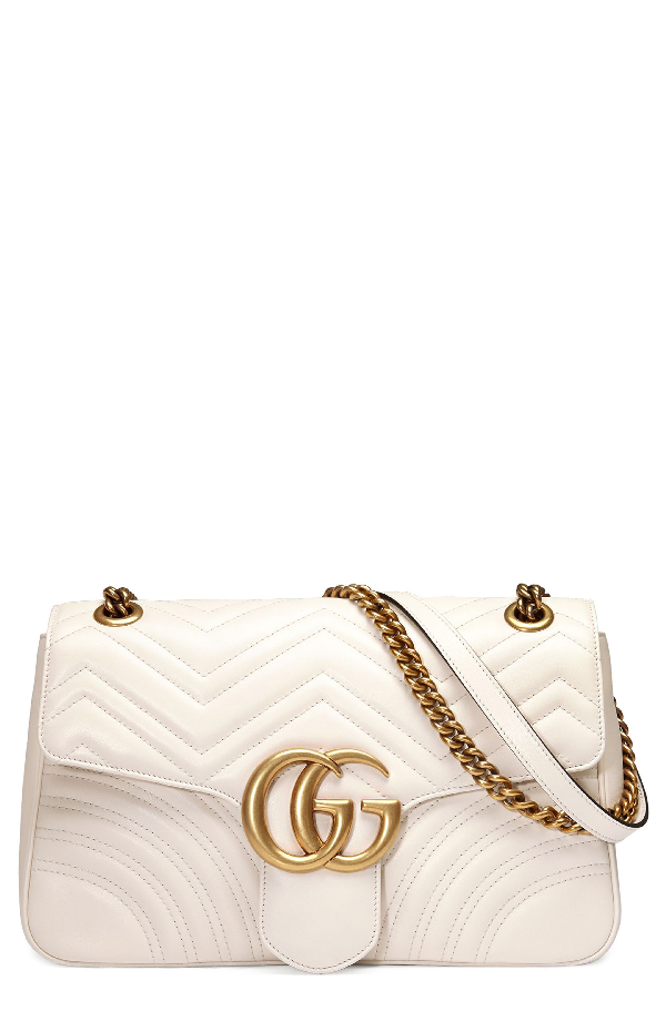 fce51186a641 Gucci Gg Marmont Large Chevron Quilted Leather Shoulder Bag, White In  Mystic White