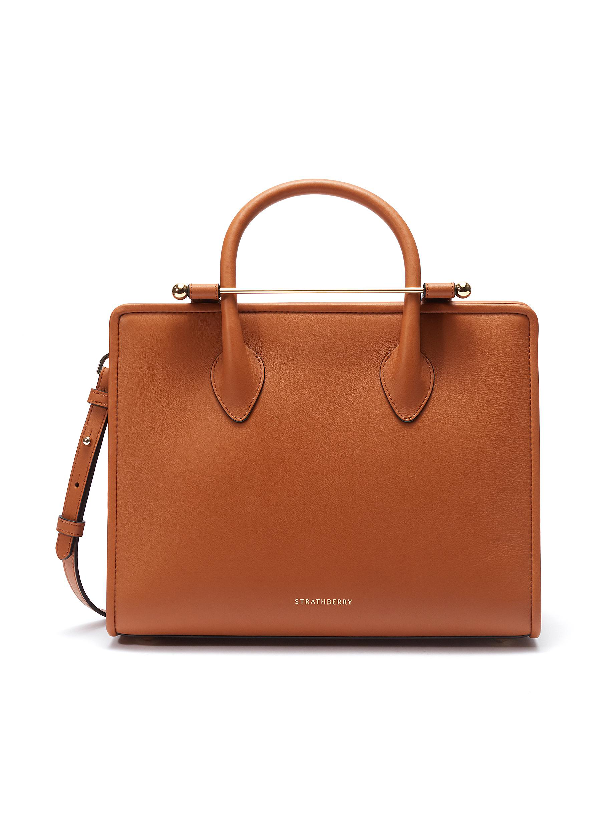 Strathberry The  Midi Tote In Tan Calfskin