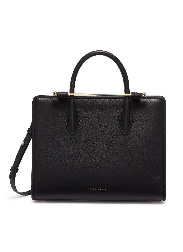 Strathberry The  Midi Tote In Black Calfskin In Black With Gold