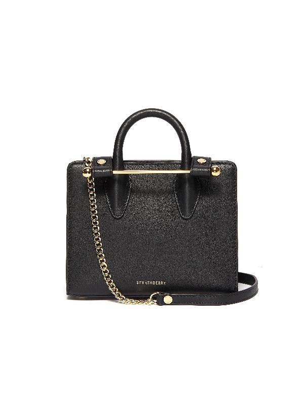 Strathberry Nano Leather Tote In Black