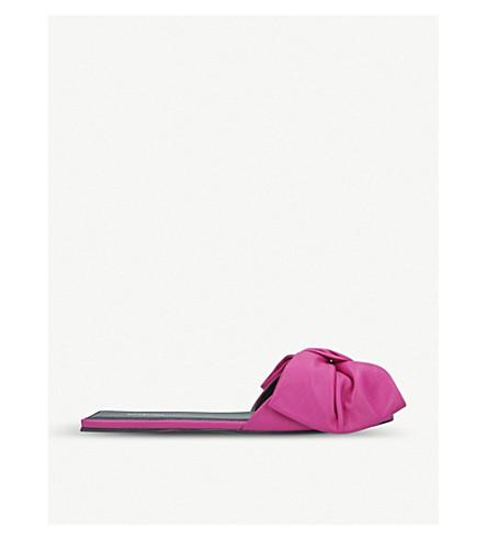 Balenciaga Square Knife Bow-embellished Leather Mules In Fushia
