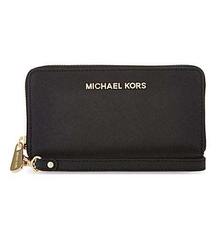 Michael Michael Kors Jet Set Multi-Function Phone Case In Black