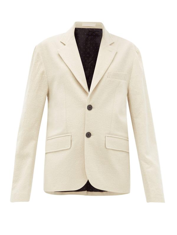 La Fetiche Annie Single-breasted Cotton-blend Blazer In Cream