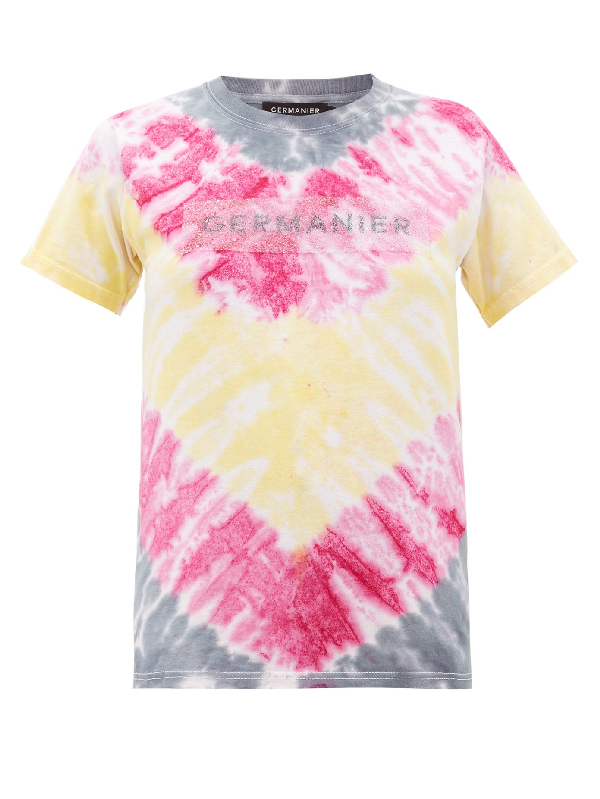 Germanier Recycled Crystal-logo Tie-dyed Cotton T-shirt In Multi