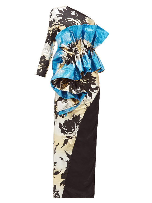 Germanier Ruffled Floral-jacquard Gown In Blue Multi