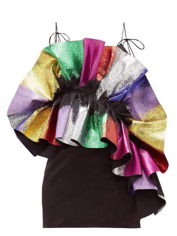 Germanier Recycled Glitter-ruffle Satin Slip Dress In Black Multi