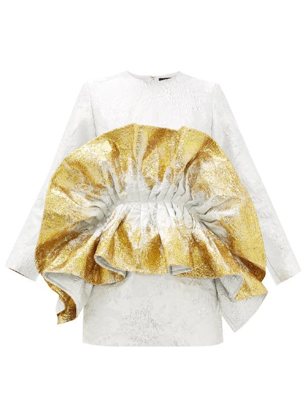 Germanier Recycled Ruffled Metallic-jacquard Mini Dress In Gold