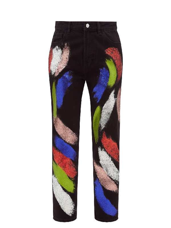 Germanier Recycled Glitter-paint Straight-leg Jeans In Black Multi