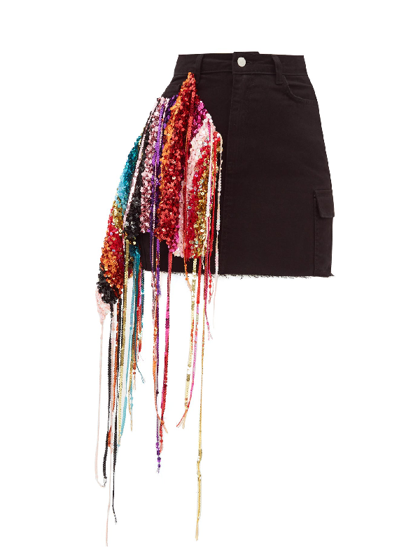 Germanier Recycled Sequin-strand Denim Mini Skirt In Black Multi