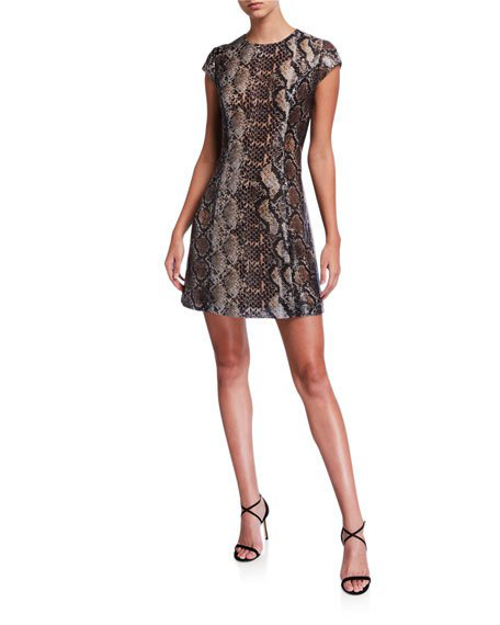 Elie Tahari Elissa Sequined Snakeskin-Print Dress In Truffle