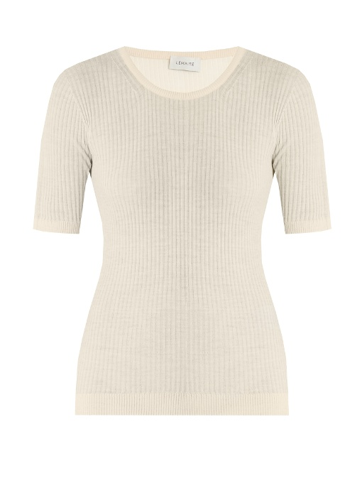 Lemaire Ribbed-Knit Wool Sweater In Cream