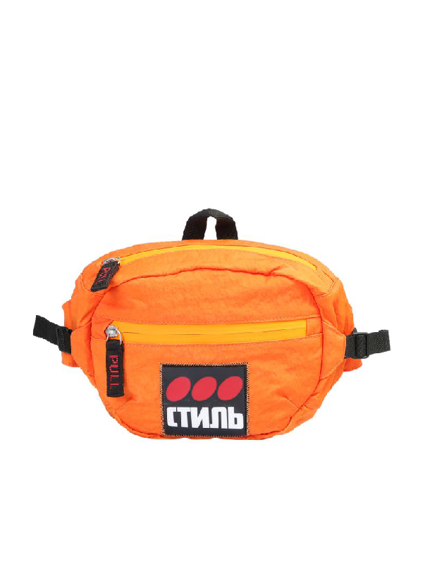 Heron Preston Branded Belt Bag In Orange