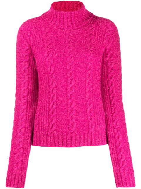 Versace Cropped Metallic Cable-knit Turtleneck Sweater In Pink