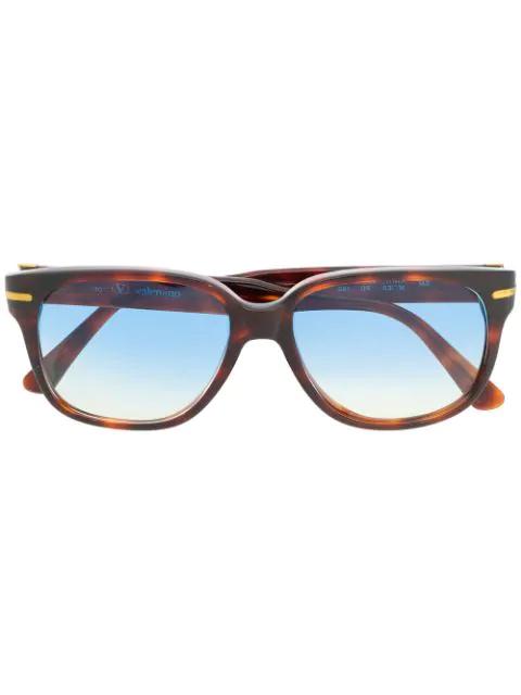 Valentino 1990s Tortoiseshell Square Gradient Sunglasses In Brown