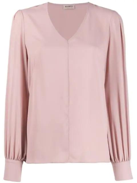 Blanca V-neck Blouse In Pink