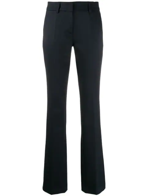 Blanca Mid-rise Flared Trousers In Blue