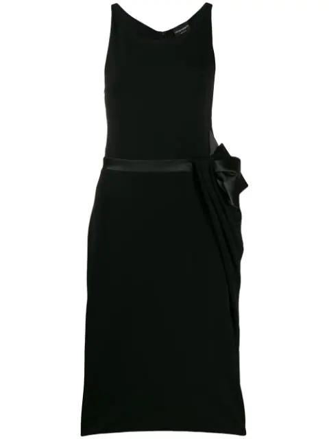 Emporio Armani Bow-tie Belt Midi Dress In Black