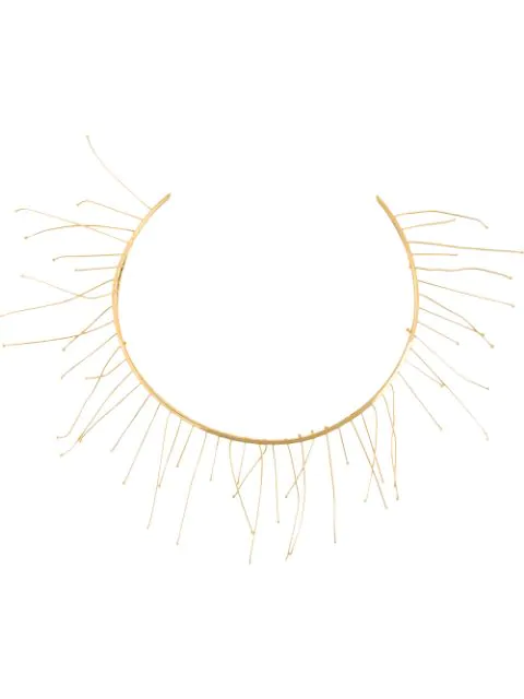Jil Sander Fringed Short Necklace In 金色
