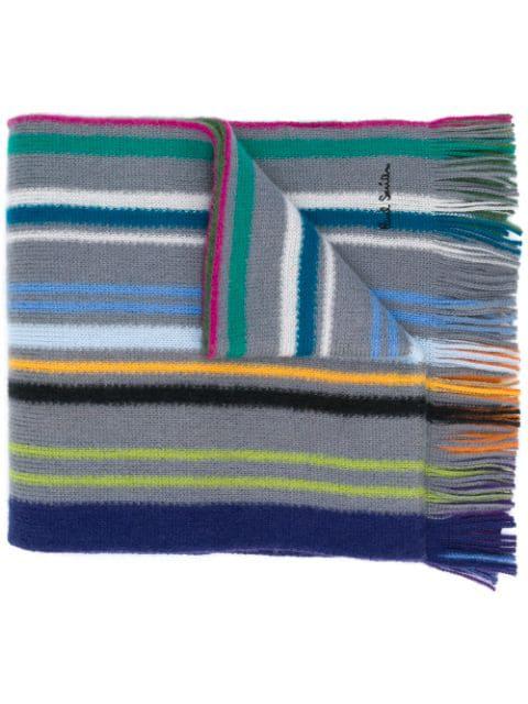 Paul Smith Striped Knit Scarf In Grey