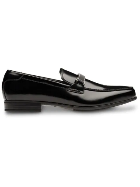 Prada Brushed Leather Loafers In Black