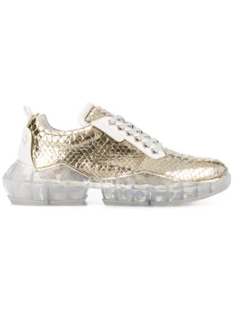 Jimmy Choo Diamond Sneakers In Gold