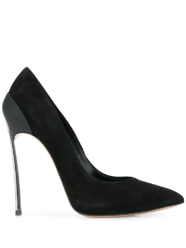 Casadei Metallic Stiletto Pumps In Black