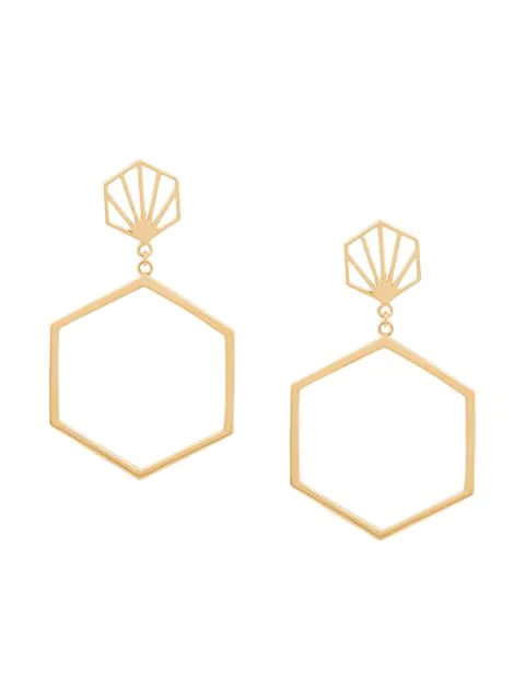 Rachel Jackson Hexagonal Drop Earrings In Gold