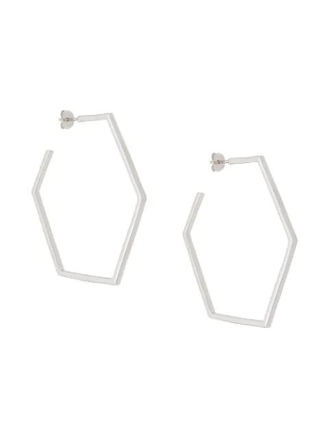 Rachel Jackson Hexagonal Hoop Earrings In Silver