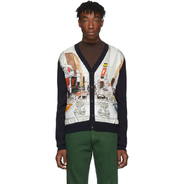 Lanvin Graphic Knitted Cardigan In Blue