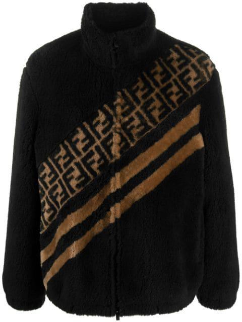 Fendi Ff Motif Faux Fur Jacket In Black