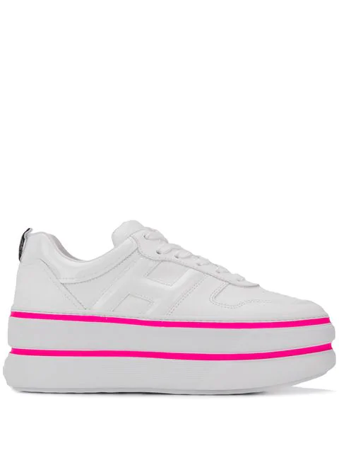 Hogan Women's Shoes Leather Trainers Sneakers H449 In White