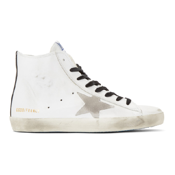 Golden Goose Francy High-Top Leather Sneakers In White Leather Blue Sole
